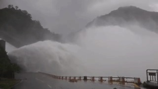 High Volume of Water Discharged From Taiwan Dam During Typhoon Megi