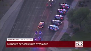 Police procession from Chandler after officer killed in pursuit incident