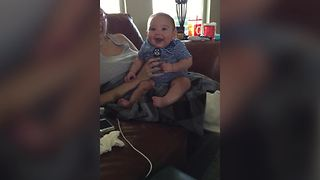 Dad Pretends To Be Batman, Baby Laughs Uncontrollably - Video