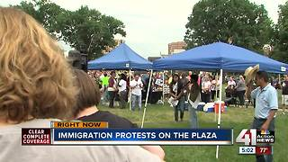 Protesters on the Plaza rally for Immigrants