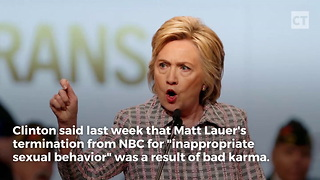 Hillary Claims Lauer's Fall Was Bad Karma For Tough Interview - Video