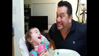 Baby's Reaction to Her Dad Singing - Video