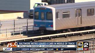 MTA Metro SubwayLink train leaves four cars behind on track in Owings Mills - Video