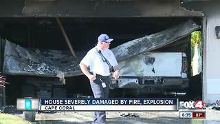 House damaged after fire and possible explosion in Cape Coral - Video