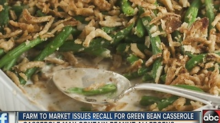 Farm to Market Foods Issues Allergy Alert on Undeclared Peanut in Green Bean Casserole - Video