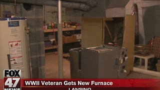 Lansing WWII veteran gets new furnace - Video