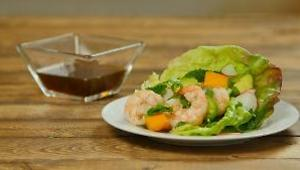 Vietnamese-Style Lettuce Wraps with Grilled Shrimp, Avocado, and Mango - Video