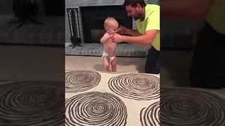 Dad and Pug Teach Baby How to Walk - Video