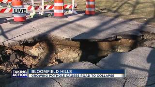 Bloomfield Hills road collapse - Video