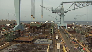 Future Aircraft Carrier John F Kennedy Stern Placed, Time Lapse - Video
