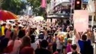 Police Lead Counter-Protester Away From Brisbane Marriage Equality March - Video