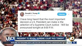 President to reveal Supreme Court pick