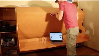 Crafty Dad Creates a Hidden Bed Desk - Video
