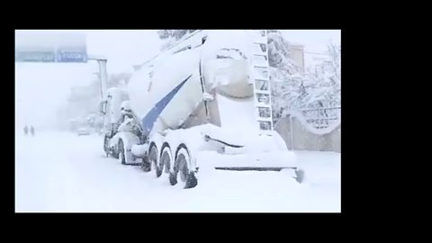 Heavy Snowfall Covers Town in North Algeria