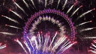 New Year's Eve Celebrations with Firework Display at the London Eye - Video