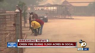 Creek Fire Burns 11,000 Acres in SoCal - Video