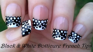 Black & White Lace French Manicure - Video