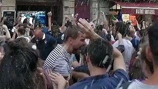 Fans Throw Drinks and Celebrate as France Advances to World Cup Final - Video