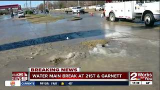 Water line break affects multiple businesses in east Tulsa - Video