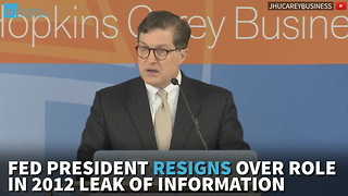 Fed President Resigns Over Role In 2012 Leak Of Information - Video