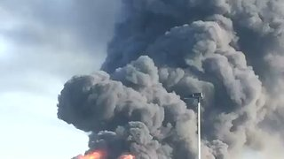 Huge Fire at Plastics Factory Forces Evacuations - Video