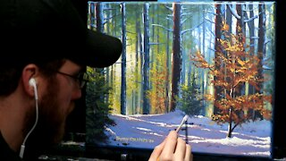 Acrylic Landscape Painting of a Snowy Autumn Forest - Time Lapse - Artist Timothy Stanford