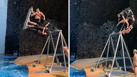 Professional diver & Cirque du Soleil performer shows off his skills