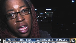 Mother of Harlem Park Middle School student speaks out after teacher fired for racial slur - Video