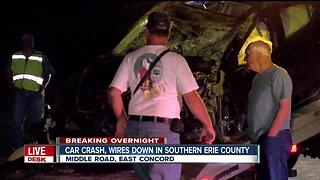 Car crash takes wires down in Southern Erie County - Video