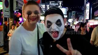 Halloween celebrations on Walking Street in Pattaya, Thailand - Video