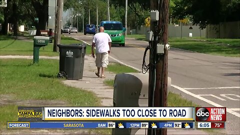 Citrus Park families say sidewalk near school is too close to road