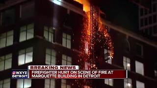 Crews fight fire at Marquette Building in downtown Detroit