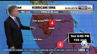 Category 5 Irma's winds remain at 185 mph