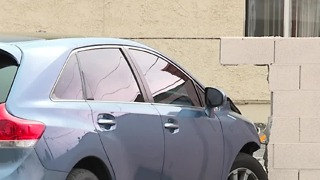 Stolen car found crashed into wall - Video