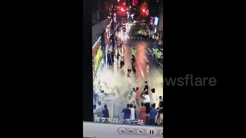 Terrifying scene as billboard collapses on top of pedestrians killing three