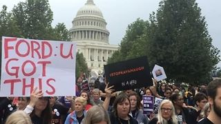 Protesters Show Support for Blasey Ford Outside US State Capitol - Video