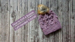 How to Knit a Bobble - Left-Handed Knitting Tutorial