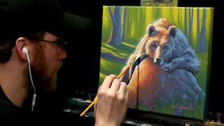 Acrylic Wildlife Painting of a Napping Bear - Time-lapse - Artist Timothy Stanford