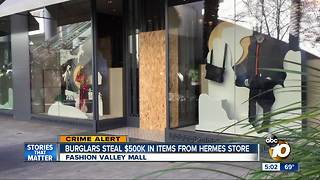 Burglars target Fashion Valley Hermes - Video