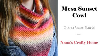 Mesa Sunset Crochet Cowl tutorial