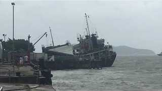Cargo Ship Seeks Shelter From Typhoon Hato in Hong Kong's Discovery Bay - Video