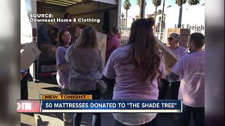 Mattresses donated to Shade Tree - Video