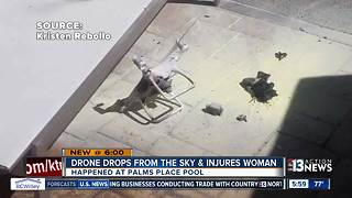 Drone falls from the sky at hotel pool, injures woman - Video
