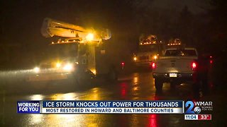Power restored to thousands after ice storm