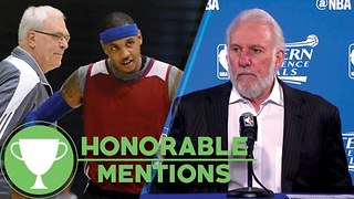 Coach Pop's Salty Presser, MORE Carmelo Anthony vs Phil Jackson Drama -Honorable Mentions - Video