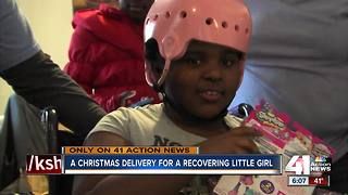 Little girl who was shot surprised with presents - Video