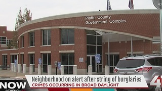 Platte County neighborhood on alert after string of burglaries - Video