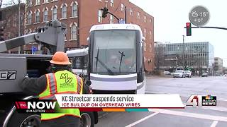 KC Streetcar service suspended due to ice - Video