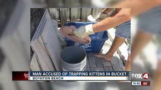Man accused of trapping kittens in an outside bucket - Video