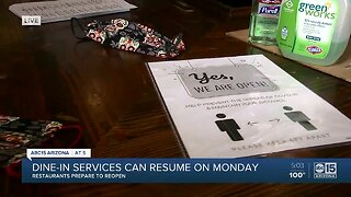 Dine-in services can resume on Monday